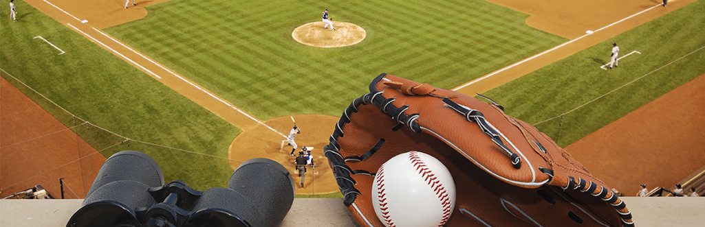 baseball game with binoculars, ball and glove in foreground